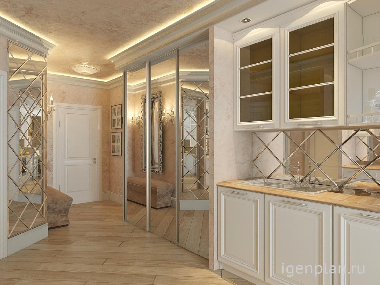 интерьер кухни гостиной в современном стиле в классическом стиле