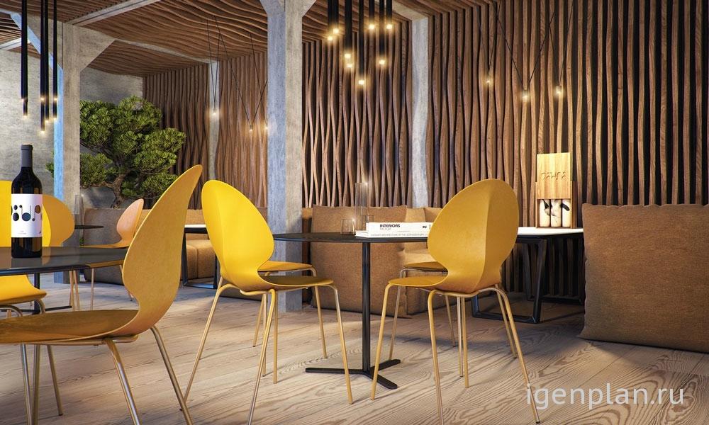 Современный стиль в интерьере в кафе