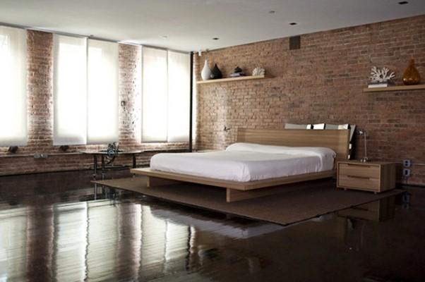 спальня в стиле лофт интерьера